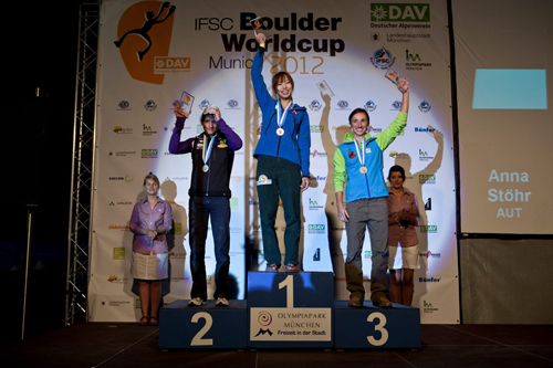 Boulderweltcup München 2012: Siegerpodest Damen, Foto: Marco Kost